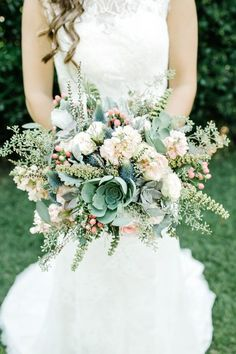 large green, peach and blue wedding bouquet with succulents / http://www.himisspuff.com/succulent-wedding-decor-ideas/4/