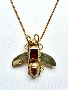 Wasp Pendant. bronze, silver, smoky quartz. Georgina Taylor