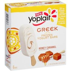 Yoplait Low Fat Honey Caramel Frozen Greek Yogurt Bars, fl oz, 6 count 90 CALS the protein of regular frozen yogurt Only natural flavors Live and active cultures Healthy Menu, Healthy Eating Recipes, Snack Recipes, Healthy Eats, Healthy Foods, Snacks, Honey Caramel, Caramel Bars, Ole Recipe