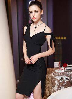 Huge discount on: V Neck Side Slit Bodycon Party Dress