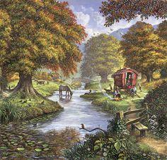 The Romany Camp Canvas Print / Canvas Art by MGL Meiklejohn Graphics Licensing Wall Art Prints, Canvas Prints, Camping Photography, Naive Art, Vintage Postcards, Fine Art America, Canvas Art, Artwork, Jim Mitchell