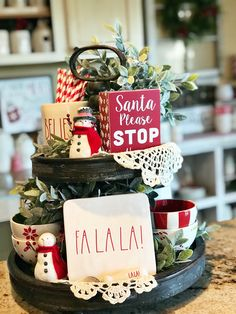 Styling Tiered Trays Farm to Table Creations. More ideas for Christmas tiered trays using Rae Dunn, greenery, two and t Christmas Kitchen, Country Christmas, All Things Christmas, Christmas Home, Christmas Holidays, Christmas Crafts, Christmas Ornaments, Christmas Ideas, Christmas 2019