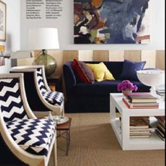 Chevron chairs  - maybe pattern on back and solid on seat ?