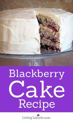 Homemade Blackberry Cake with cream cheese frosting! Recipe made with fresh blackberries. The perfect summer cake. http://LivingLocurto.com