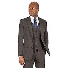 Hammond & Co. by Patrick Grant Grey tonal check 2 button front tailored fit st james suit - Checked Suit, Bespoke Tailoring, Savile Row, Traditional Looks, Debenhams, Mens Suits, Dress To Impress, Casual Wear, Suit Jacket