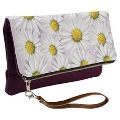 #white - #Floral Arrangement of White and Yellow Daisies Clutch
