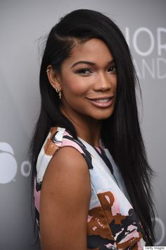 Chanel Iman is the picture of effortless chic with her bone straight strands, groomed brows and matte makeup. By creating a deep-side part, it allows for Iman's funky piercings to show.