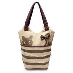 Lovely Cat Women Canvas Tote Casual Bucket Bags Bowknot Shoulder Bags