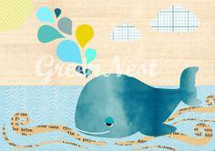 Cute Whale Collage On wood Nursery art print, nursery decor, baby nursery print, kids art, kids room decor, kids wall art, by Green Nest.