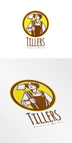 Tillers Farmers Market Logo. Logo showing illustration of organic farmer holding a grab hoe facing front set inside circle done in retro woodcut style. 100% re-sizeable vectors. Logo