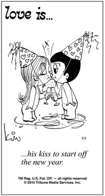 Love is. his kiss to start off the new year. - Love is. Love Is Comic, Love Is Cartoon, Love You So Much, What Is Love, Love Of My Life, My Love, New Year's Kiss, Nouvel An, Thoughts