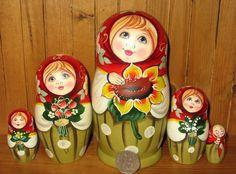 Russia nesting Doll hand made GIRLS Sunflower Flowers MATT Matrioshka Veselova 5