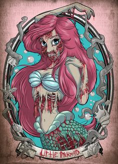 Zombified #Disney Princesses  Again with the princess but I like how the artist took the seaweed and made it dead to go along with Ariel. This wouls be a sick tattoo.