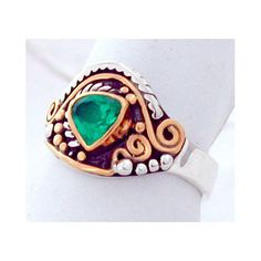 Green Stone Silver and Gold Ring made to order by aboutjewelry, $800.00