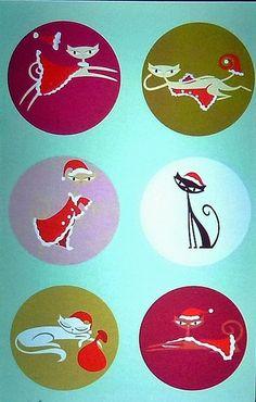 SHAG Josh Agle  6 CHRISTMAS KITTIES Christmas Greeting Card Tiki Cat MCM Santa #Modernism