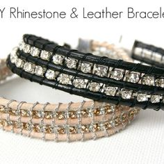 Handmade Gift Challenge: Rhinestone and Leather Bracelet double high- weave cord back & forth over rhinestone chain