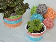 Kool-Aid Dyed Yarn & Recycled Plant Pot | Hometalk