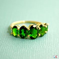 Russian Diopside and Diamond Ring in 14k Yellow Gold | Liquidation Channel