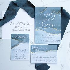 Slate Blue and Gold Foiled Watercolor Wedding Invitation Suite - Dusty Blue Wedding Invitations - Watercolor Wedding Invitations Rsvp Wedding Cards Wording, Wedding Invitation Samples, Beach Wedding Invitations, Wedding Programs, Wedding Invitation Design, Event Invitations, Wedding Planner, Blue Wedding Invitation Suites, Blue Wedding Stationery
