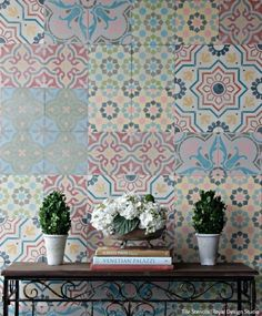 how to Stencil VIDEO Tutorial: Patterned and Painted Encaustic Tile Wall Decor from Royal Design Studio Rubber Door Mat, Chalk Paint Wax, Arrow Decor, Funky Junk Interiors, Spanish Tile, Encaustic Tile, Royal Design, Hanging Flowers, Empty Wall