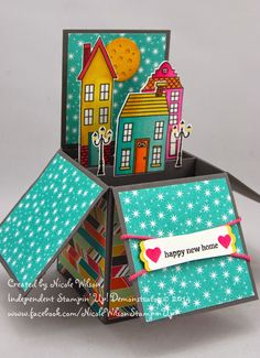 Nicole Wilson Independent Stampin' Up! Demonstrator: Search results for card in a box Fun Fold Cards, Folded Cards, Housewarming Card, Tarjetas Pop Up, New Home Cards, Pop Up Box Cards, Card Boxes, Exploding Box Card, Interactive Cards