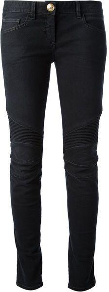 BALMAIN Black Skinny Leg Trouser  - Lyst