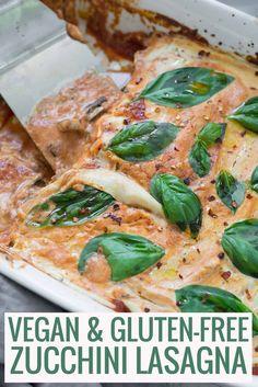 Vegan GlutenFree Zucchini Lasagna! This lasagna is SO good! Zucchini noodles with eggplant, mushrooms and cashew-cauliflower ricotta. #vegan #glutenfree #vegetarian #pasta #recipe #healthyrecipe #plantbased | www.delishknowledge.com