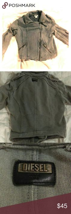 Diesel moto jacket 100% cotton moto jacket. Asymmetric full frontal zipper with great detailing to give it that rocker moto vibe. Light grey, great condition Diesel Jackets & Coats