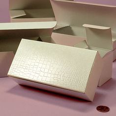 White Alligator Embossed Tuck Top Boxes