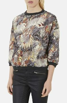 Topshop Sequined Palm Print Sweatshirt available at #Nordstrom