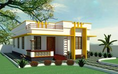 700 Square Feet 2 Bedroom Simple and Elegant Style House and Plan Flat Roof Design, House Roof Design, Village House Design, Kerala House Design, Bungalow House Design, Small House Design, Railing Design, Front Design, Single Floor House Design