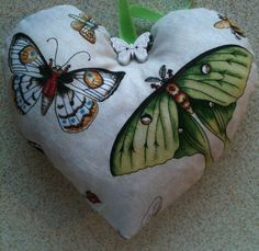 Moth And Butterfly Fabric Heart Lavender Bag - Handmade in Crafts, Hand-Crafted Items   eBay