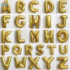 Дешевые 16 Дюймов Письмо Шары Float Воздуха Фольги Золотой Алфавит ABC AZ Шар Для Свадьбы Украшения Ballon Дети Надувные Toys