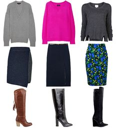 Pencil skirts + knee-high boots