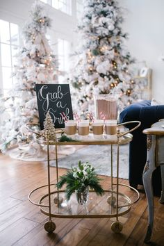 Christmas Home Decor and coffee station- Rach Parcell Pink Peonies