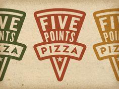 Logos Criativos inspirados em Comida - Five Points Pizza #Logo #Design