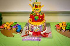 Crayon Cake at a Art Party #artparty #crayoncake