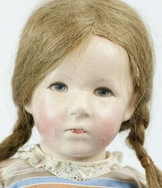 "German Kathe Kruse 20"" Doll Original Wig from funcity on Ruby Lane"