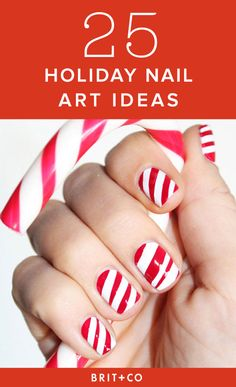 These are the 25 Classiest Designs Around via Brit + Co Holiday Nail Designs, Holiday Nail Art, Winter Nail Art, Winter Nails, Summer Nails, Gold Manicure, Manicure Ideas, Cute Christmas Nails, Christmas Holiday
