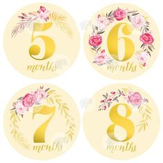 Baby Girl Monthly Milestone Stickers - Girl Month Stickers - Floral Gold Watercolor Bouquet- 1 to 12 Months - Milestone - Flowers Sticker Paper, Stickers, Dad Birthday, Birthday Ideas, Gold Watercolor, Girl Baby Shower Decorations, Parent Gifts, Baby Month By Month, Nursery Wall Art