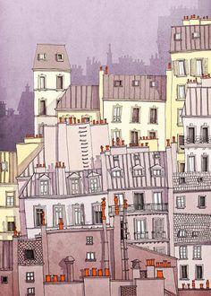 VENTA Ilustración de Paris París Montmartre por tubidu en Etsy