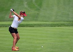 Belen Mozo of Spain teeing off during round 1 of the International Crown, July 24, 2014