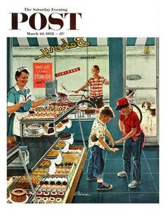 """Doughnuts for Loose Change"" Saturday Evening Post Cover from March Artwork by Ben Kimberly Prins Images Vintage, Look Vintage, Vintage Ads, Vintage Sweets, Retro Images, Vintage Soul, Vintage Ephemera, Vintage Pictures, Vintage Advertisements"