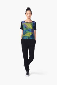 """""""Golden Fishes, underwater creatures, blue & yellow"""" Chiffon Tops by clipsocallipso 