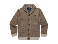 Fred Perry Shawl Collar Button Through Cardigan (Toddler/Little Kids/Big Kids) Arbor Marl - 6pm.com
