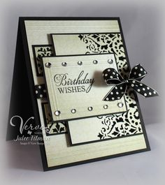 Elegant black and cream birthday card