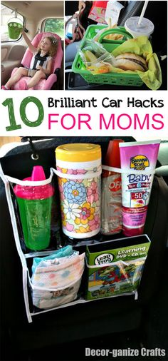 10 Brilliant Car Hacks for Moms- Great ideas to make the car ride easier for moms:)although i wouldn't recommend hanging a bucket above the kids like that:)