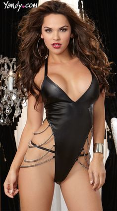 474cf42b96a56 2016 New Top Quality Lady Fashion Leather Sexy Lingerie Glamour Halter  Sleepwear | eBay