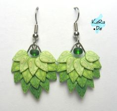 Layered leaf canes on a metal frame for fantastic earrings!