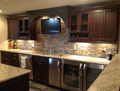 Basement wet bar Novi Finished Basement - traditional - basement - detroit - Majestic Home Solutions LLC
